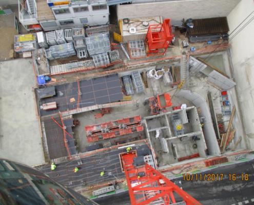 Travaux de fondation du nouveau bâtiment de lécole Massillon depuis la grue
