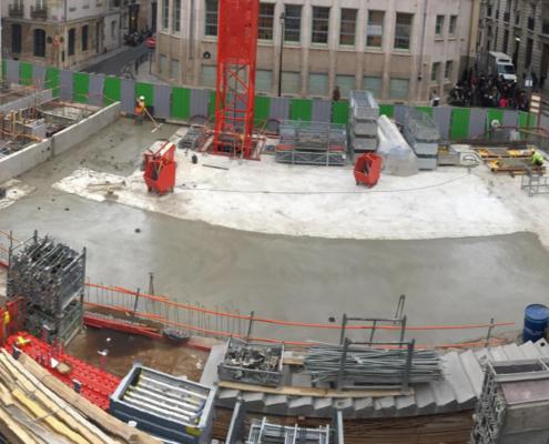 Travaux de fondation du nouveau bâtiment de l'école Massillon